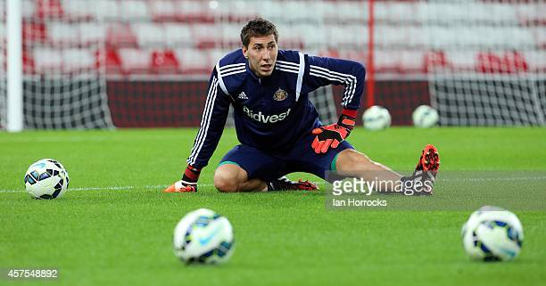 Costel Pantilimon of Sunderland warms up during the Barclaclays U21 League match between Sunderland AFC and Leicester City FC at The Stadium of Light...
