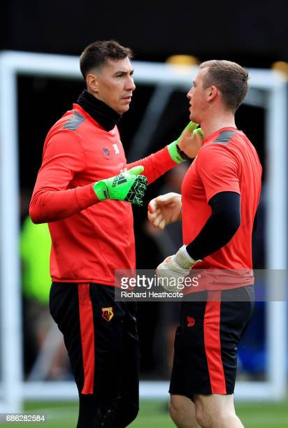 Costel Pantilimon of Wartford and Rene Gilmartin of Watford embrace prior to the Premier League match between Watford and Manchester City at Vicarage...