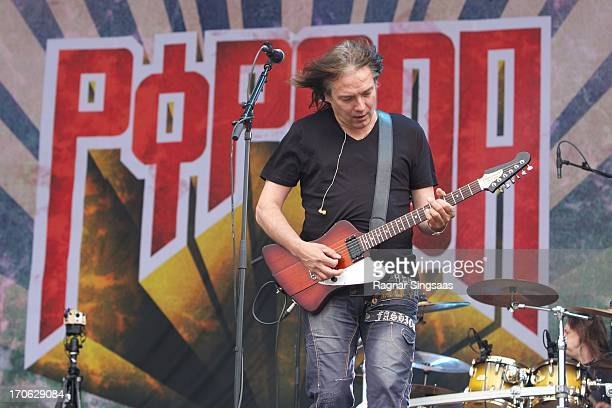 Costello Hautamaki of the Finnish rock band Popeda performs on stage on Day 2 of Provinssirock 2013 on June 15 2013 in Seinajoki Finland