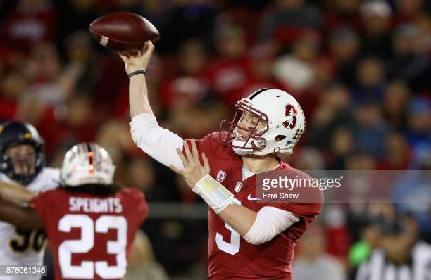 J Costello of the Stanford Cardinal passes the ball against the California Golden Bears at Stanford Stadium on November 18 2017 in Palo Alto...