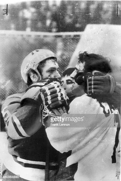 A costly cut Alexander Ragulin burly defencemen with Soviet Nationals grapples with Team Canada's star center Phil Esposito in second period of...