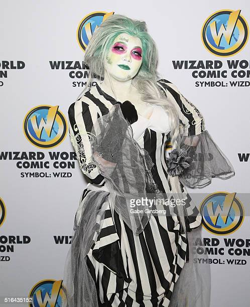 Costume and prop designer Mogchelle Cosplay dressed as the character Beetlejuice attends Wizard World Las Vegas at the Las Vegas Convention Center on...