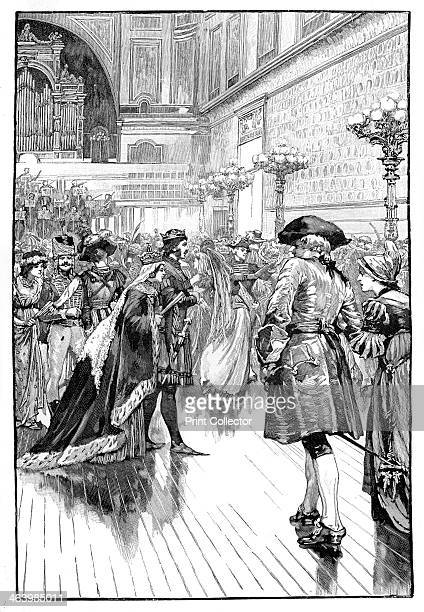 Costume Ball at Buckingham Palace c1840s Queen Victoria as Queen Philippa at the Plantagenet Ball Illustration from The Life and Times of Queen...