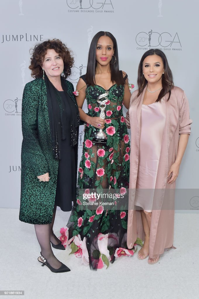 Costume desginer Lyn Paolo, honoree Kerry Washington, recipient of the Spotlight Award, and actor Eva Longoria attend the Costume Designers Guild Awards at The Beverly Hilton Hotel on February 20, 2018 in Beverly Hills, California.