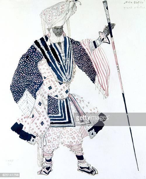 Costume design by Leon Bakst for Soma the High Priest in 'Le Dieu Bleu' _produced in 1911 by Sergei Diaghilev's Ballets Russes Music by Reynaldo Hahn...