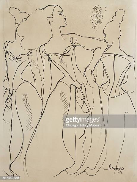 Costume design drawing of ball gown with low decollete princess seaming long raglan sleeves billowing skirt and draped front panel 1970 Fashion...