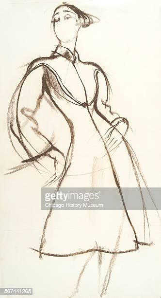 Costume design drawing of overcoat with mandarin collar raglan sleeves and flared skirt 1970 Fashion design by Charles James Illustration by Antonio...