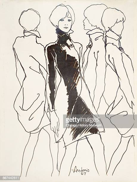 Costume design drawing of wrap coat with two button neckline closure three quarter length sleeves and standing pointed collar 1967 Fashion design by...