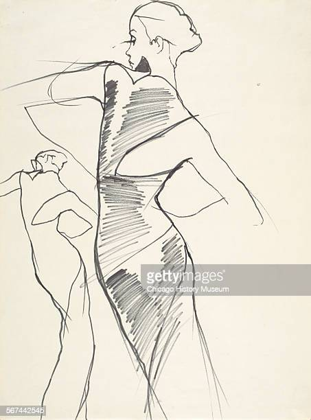 Costume design drawing of wrapped evening dress with cutout shoulder 1970 Fashion design by Charles James Illustration by Antonio Lopez