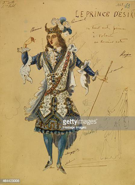 Costume design for the ballet Sleeping Beauty by P Tchaikovsky 1890 Found in the collection of the State Museum of Theatre and Music Art St Petersburg