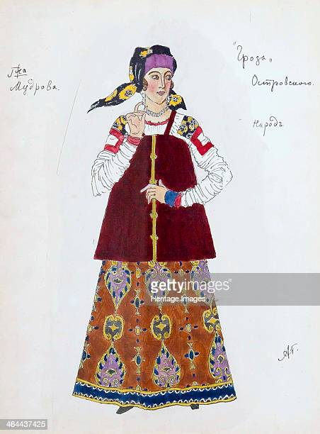 Costume design for the play 'The Storm' by Alexander Ostrovsky 1916 Found in the collection of the State Central A Bakhrushin Theatre Museum Moscow