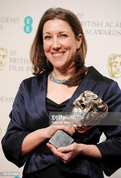 Costume Design winner Jacqueline Durran poses in the Press Room at the EE British Academy Film Awards at The Royal Opera House on February 10 2013 in...