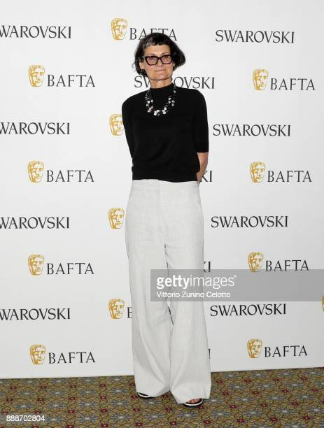 Costume designer Alexandra Byrne poses after her Masterclass on day four of the 14th annual Dubai International Film Festival held at the Madinat...