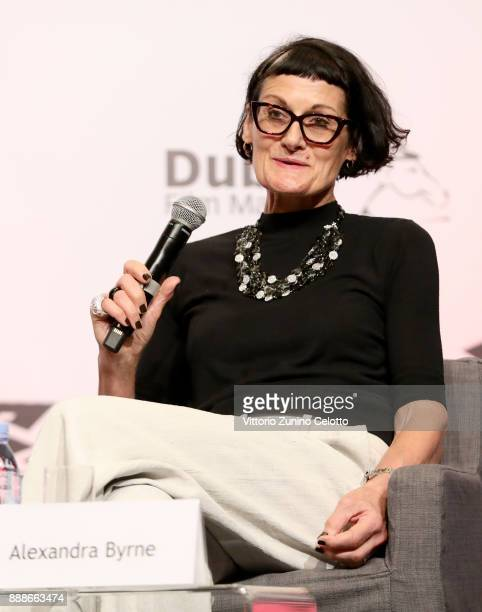 Costume designer Alexandra Byrne speaks during a Masterclass on day four of the 14th annual Dubai International Film Festival held at the Madinat...