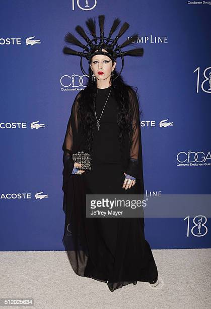 Costume designer B Akerlund attends the 18th Costume Designers Guild Awards at The Beverly Hilton Hotel on February 23 2016 in Beverly Hills...