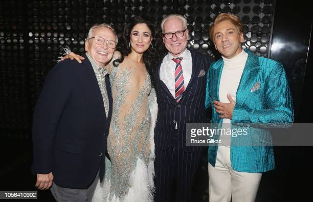 Costume Designer Bob Mackie Stephanie J Block as Cher Tim Gunn and Michael Berresse as Bob Mackie pose backstage after the first public performance...
