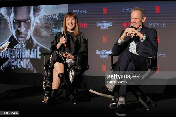 Costume designer Cynthia Summers and Director/production designer Bo Welch speak onstage at the Time Warp Crafts Panel at Netflix FYSEE on May 20...
