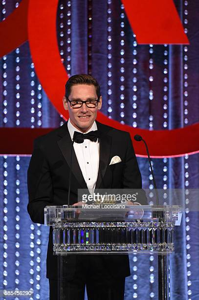 Costume designer Daniel Lawson speaks on stage during the Accessories Council 20th Anniversary celebration of the ACE awards at Cipriani 42nd Street...