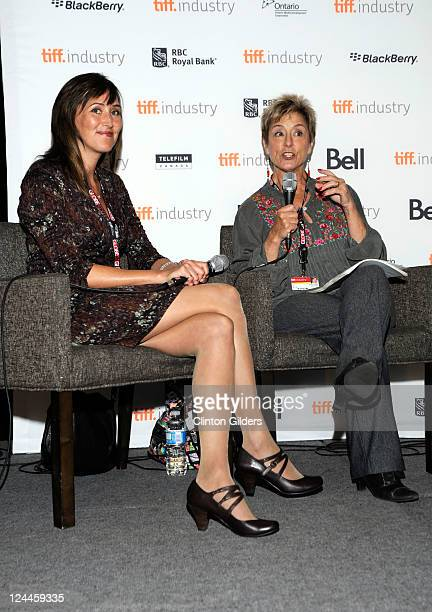 Costume Designer Heather Neale and Moderator Sydney Levine speak at From Stitch To Screen Contemporary Canadian Costume Design at Filmmaker's Lounge...
