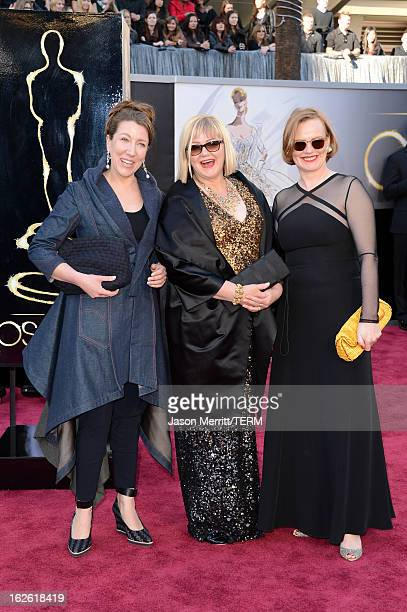 Costume designer Jacqueline Durran and guests arrive at the Oscars at Hollywood Highland Center on February 24 2013 in Hollywood California