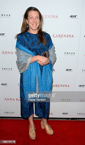 Costume designer Jacqueline Durran attends the premiere of Focus Features' Anna Karenina held at ArcLight Cinemas on November 14 2012 in Hollywood...