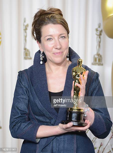 Costume Designer Jacqueline Durran poses in the press room during the Oscars at Loews Hollywood Hotel on February 24 2013 in Hollywood California