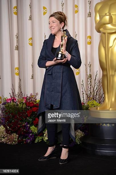 Costume designer Jacqueline Durran winner of the Best Costume Design award for Anna Karenina poses in the press room during the Oscars held at Loews...