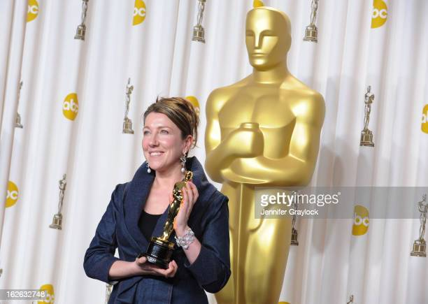 Costume designer Jacqueline Durran winner of the Best Costume Design award for 'Anna Karenina' in the press room during the 85th Annual Academy...