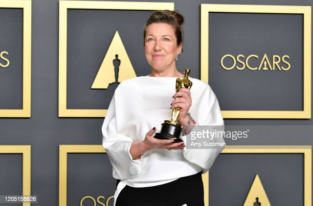 """Costume designer Jacqueline Durran winner of the Costume Design award for """"Little Women"""" poses in the press room during the 92nd Annual Academy..."""