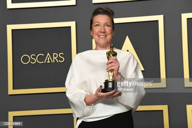 Costume designer Jacqueline Durran winner of the Costume Design award for Little Women poses in the press room during the 92nd Annual Academy Awards...