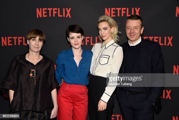 Costume designer Jane Petrie, actors Claire Foy and Vanessa Kirby and executive prodcer Peter Morgan attend a For Your Consideration event for...
