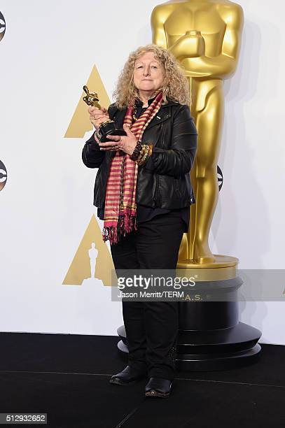 Costume designer Jenny Beavan winner of Best Costume Design for 'Mad Max' poses in the press room during the 88th Annual Academy Awards at Loews...