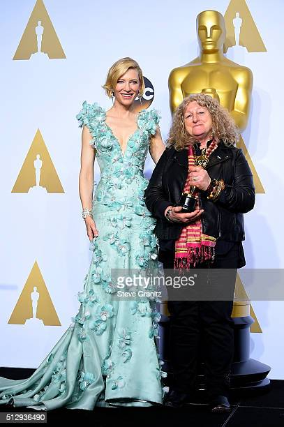 Costume designer Jenny Beavan winner of the Best Costume Design award for 'Mad Max Fury Road' poses with actress Cate Blanchett in the press room...