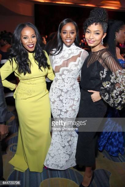 Costume designer June Ambrose honorees Aja Naomi King and Yara Shahidi at Essence Black Women in Hollywood Awards at the Beverly Wilshire Four...