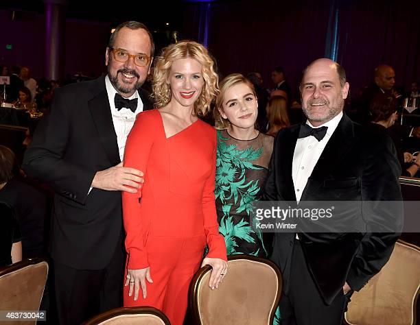 Costume designer Mark Bridges actresses January Jones Kiernan Shipka and director Matthew Weiner attend the 17th Costume Designers Guild Awards with...