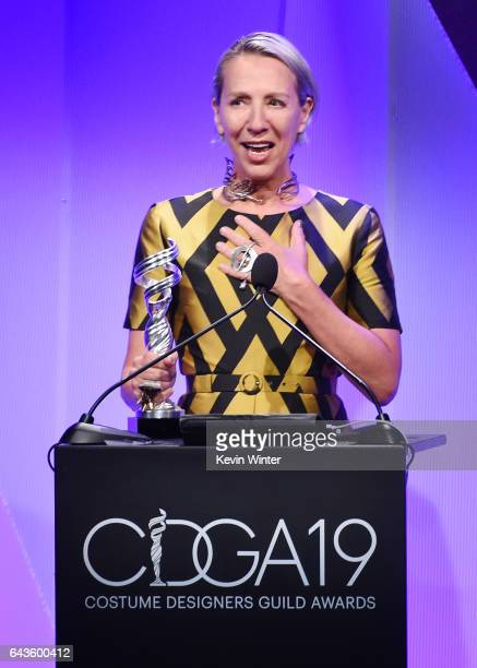 Costume designer Michele Clapton accepts the Outstanding Period Television Series award for 'The Crown' onstage at The 19th CDGA with Presenting...