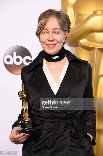 Costume designer Milena Canonero poses in the press room during the 87th Annual Academy Awards at Loews Hollywood Hotel on February 22 2015 in...