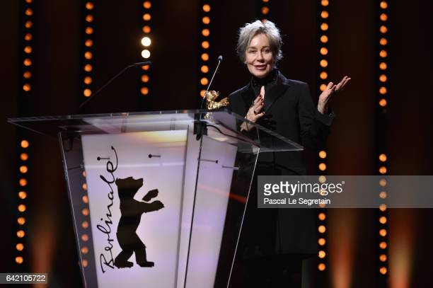 Costume designer Milena Canonero speaks on stage at the 'The Shining Hommage Milena Canonero' premiere during the 67th Berlinale International Film...
