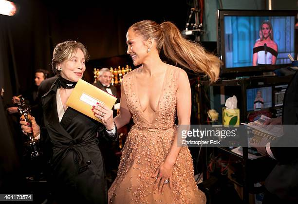 Costume designer Milena Canonero winner of the Best Costume Design Award for 'The Grand Budapest Hotel' and recording artist Jennifer Lopez attend...