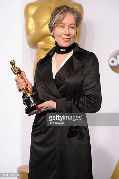 Costume Designer Milena Canonero with the award for best costume design for the film The Grand Budapest Hotel poses in the press room during the 87th...