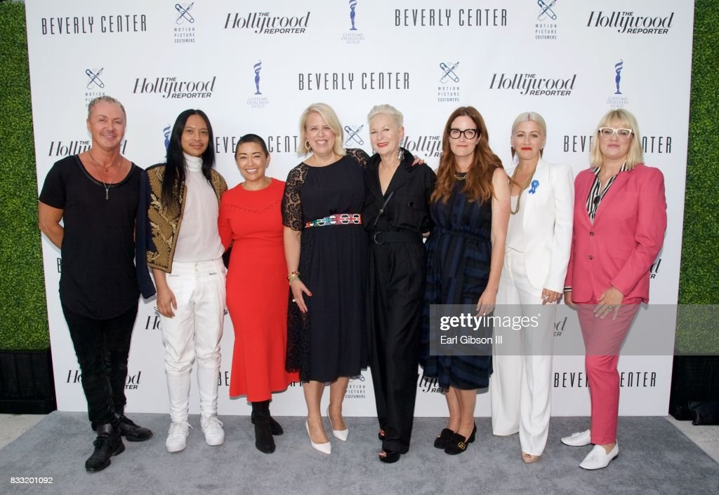 Costume Designer Perry Meek, costume designer Zaldo Goco, costume designer Ane Crabtree, The Hollywood Reporters Style and Fashion News Director Booth Moore, costume designer Lou Eyrich, costume designer Alix Friedberg, costume designer Trish Summerville and costume designer Marie Schley pose for a photo at the Beverly Center And The Hollywood Reporter Present: Candidly Costumes at The Beverly Center on August 16, 2017 in Los Angeles, California.
