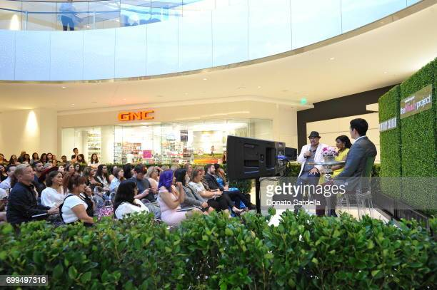 Costume designer Salvador Perez actor Mindy Kaling and moderator Patrick Gomez entertain Beverly Center shoppers with a special discussion on the...