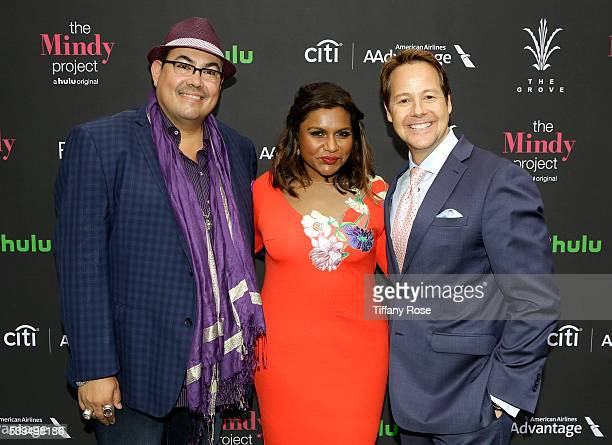 Costume designer Salvador Perez actress Mindy Kaling and Vice President Strategic Alliances and Entertainment at Caruso Affiliated Bill Cluverius...