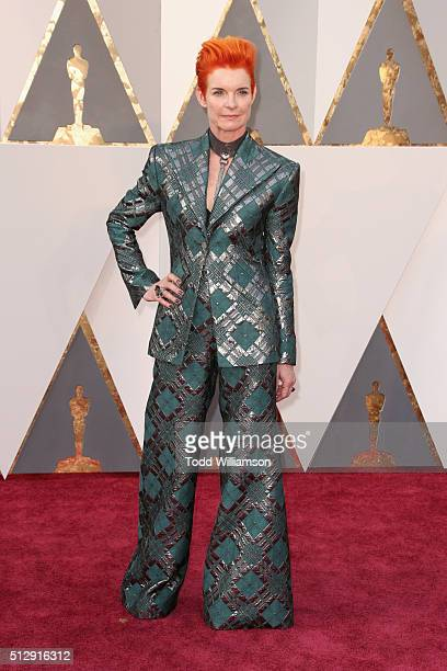 Costume designer Sandy Powell attends the 88th Annual Academy Awards at Hollywood & Highland Center on February 28, 2016 in Hollywood, California.