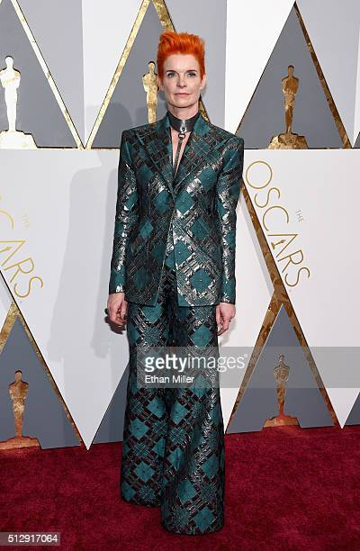 Costume designer Sandy Powell attends the 88th Annual Academy Awards at Hollywood Highland Center on February 28 2016 in Hollywood California