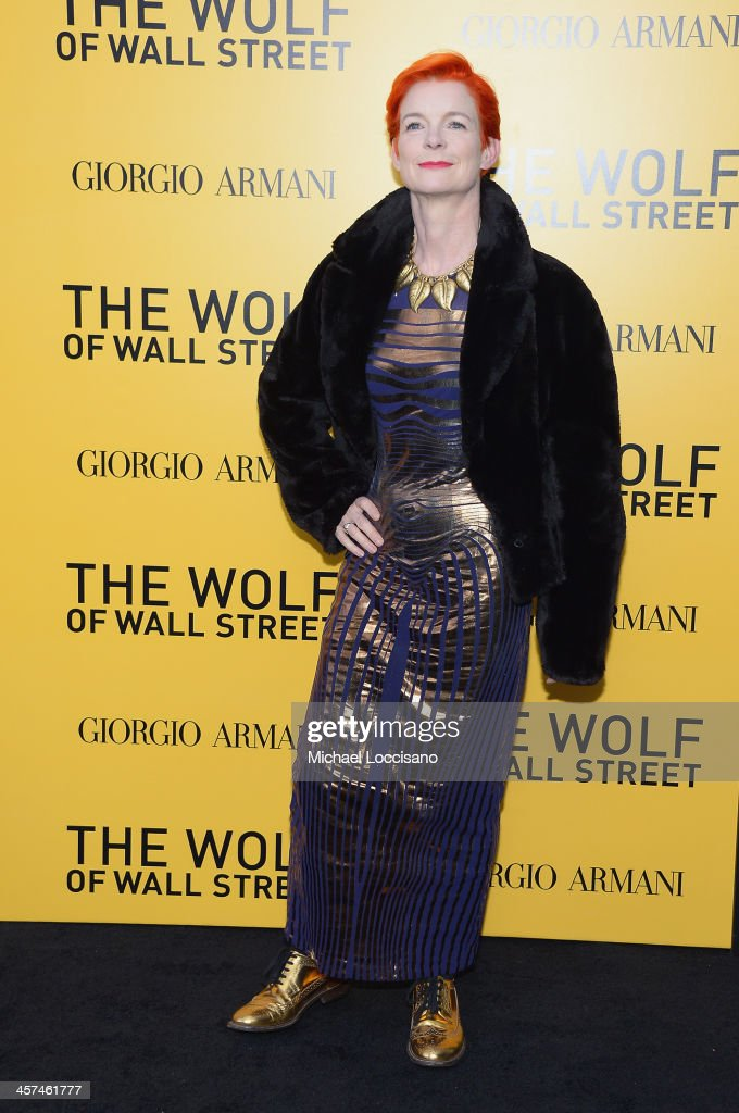 Costume Designer Sandy Powell attends the 'The Wolf Of Wall Street' premiere at the Ziegfeld Theatre on December 17, 2013 in New York City.