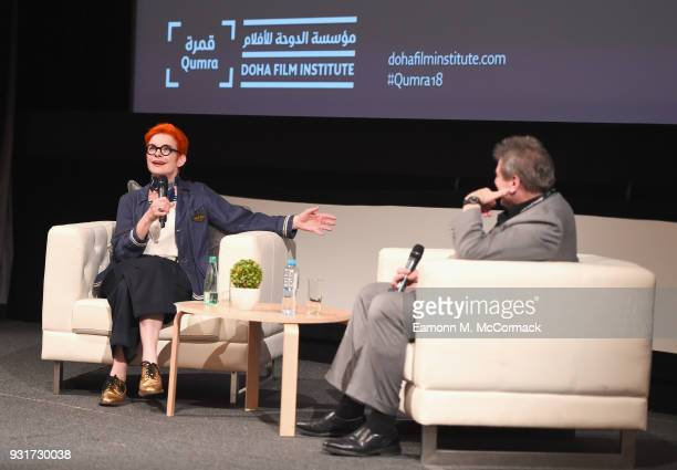 Costume designer Sandy Powell speaks on stage during the Masterclass session on day six of Qumra the fourth edition of the industry event by the Doha...