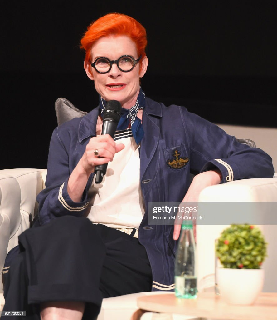 Costume designer Sandy Powell speaks on stage during the Masterclass session on day six of Qumra, the fourth edition of the industry event by the Doha Film Institute dedicated to the development of emerging filmmakers at the Museum of Islamic Art on March 14, 2018 in Doha, Qatar.