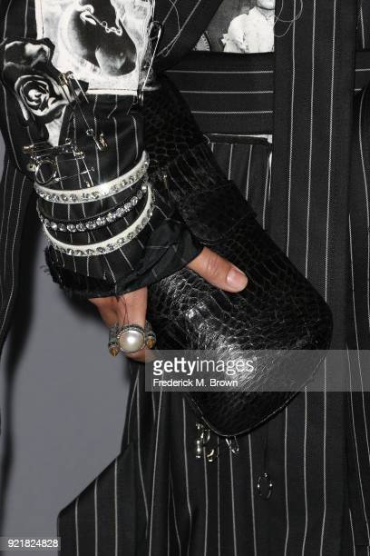 Costume designer Sara Sensoy handbag and jewelry detail attends the Costume Designers Guild Awards at The Beverly Hilton Hotel on February 20 2018 in...