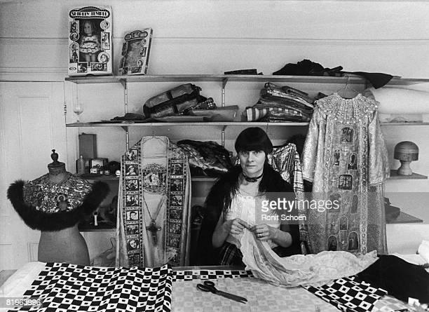 Costume designer Shirley Russell the wife of film director Ken Russell at her new shop in Pembridge Road London May 1975 Called The Last Picture...